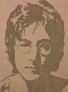 John Lennon Portrait in Corrugated Cardboard by CardboardPortraits