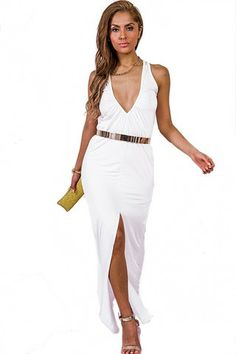 Love This!!! Breathless Deep V Maxi Dress - White