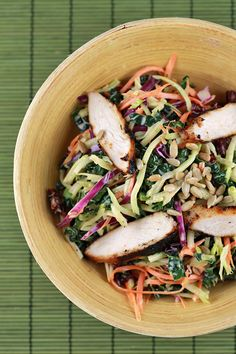 Broccoli Slaw and Kale Salad with Chicken