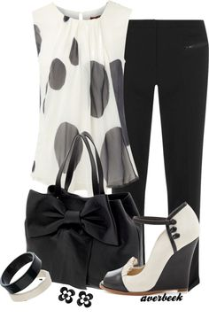 """Black and White Wedge Pump"" by averbeek on Polyvore"