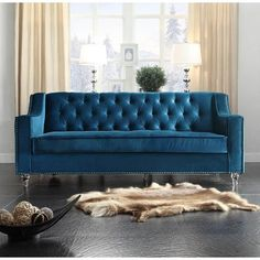 Take A Look At This Blue Tufted Velvet Nailhead Trim Presley Sofa Today!