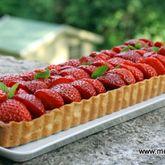 Tarte fraises rhubarbe amandes