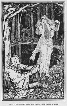 """the-hanging-garden: """" The Witch Maiden Sees the Young Man under a Tree by Henry Justice Ford The Yellow Fairy Book by Andrew Lang, 1894 """" Ink Illustrations, Children's Book Illustration, Engraving Illustration, Art Inspo, Arte Indie, Arte Obscura, Witch Art, Fairytale Art, Wow Art"""
