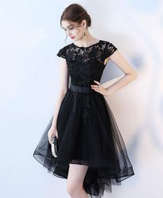 On Sale Comfortable Prom Dresses Short, Black Lace Short Prom Dress, Hight Low Evening Dress Designer Party Dresses, Lace Party Dresses, 15 Dresses, Trendy Dresses, Modest Dresses, Dresses Online, Grad Dresses, Cheap Short Prom Dresses, Formal Dresses With Sleeves