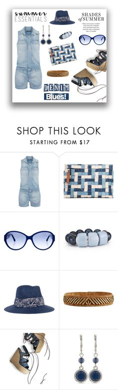 """Denim romper"" by closet-freak ❤ liked on Polyvore featuring J Brand, Loewe, Chanel, Genie by Eugenia Kim, Alberta Ferretti, Stuart Weitzman, Nine West, denim and denimromper"