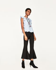 ZARA - WOMAN - EMBROIDERED BLOUSE WITH FRILLS