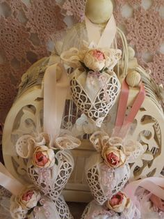 Tatted Lace Lavender Sachet with Dusty Pink Velvet Rose