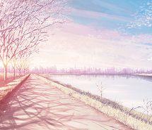 Inspiring picture anime, buildings, bush, city, clouds.