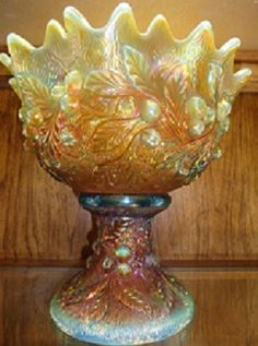 Carnival Glass at it's best. Aqua Opal Acorn Burrs Punch Bowl valued at over $20,000. Made by Northwood. c1911
