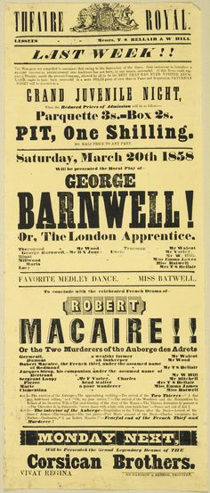 Theatre in Auckland, 1858 Vintage Labels, Vintage Posters, Media Communication, What Is Today, Vintage Type, Auckland, Letterpress, Theatre, Poster Prints
