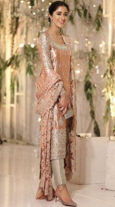 Brides sister outfit inspo ( she's wearing zehra saleem ) Pakistani Party Wear Dresses, Pakistani Wedding Outfits, Pakistani Bridal Dresses, Pakistani Dress Design, Shadi Dresses, Indian Designer Outfits, Indian Outfits, Dress Indian Style, Wedding Dresses For Girls