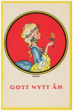 Nerman Artwork New Year Postcard Blonde Victorian Woman with a Rose in Collectibles, Postcards, Holidays | eBay