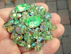 Vintage Weiss Signed Green Aurora Borealis Rhinestone Dangle Bead Pin c1950'S