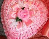 Vintage Valentine's Candy Heart Chocolate Box Pink with Ruffles