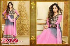 Sangeeta Ghosh Designer Grey And Pink Anarkali Suit