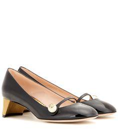 Arielle black embellished patent leather pumps