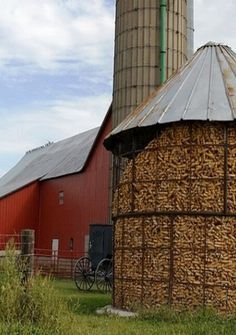 Full Corn Crib, Silo & Barn