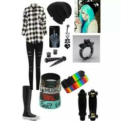 cute outfits for emo girls Grunge Outfits, Cute Emo Outfits, Bad Girl Outfits, Scene Outfits, Punk Outfits, Hipster Outfits, Alternative Outfits, Alternative Fashion, Skater Outfits