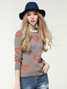 Grey Stand Collar Pullovers Cute Woman Sweater