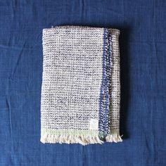 Gara-bou Blanket Stole 90×190cm Blue Pin Border   Suno & Morrison Online Store