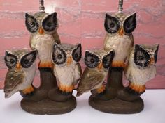 Whooo turned on the light? Pair of Vintage Retro Chalkware Heavy 3 Owl by TheLampEmporium, $195.00 Table Lamps, Retro Vintage, Owl, Mid Century, Unique Jewelry, Handmade Gifts, Etsy, Kid Craft Gifts, Lamp Table