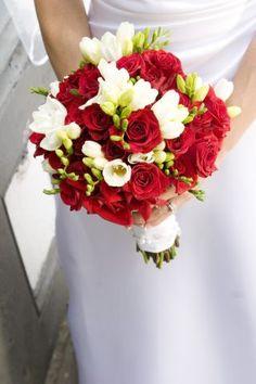 Wedding flowers - red roses freesia