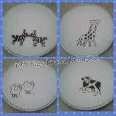 Dick Bruna kinderbordjes #DIY #creatief #creative #porcelainpainting #porseleinverf