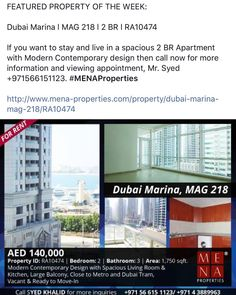 Dubai Marina l MAG218 l 2BR #FeaturedPropertyoftheWeek #MenaProperties www.mena-properties.com l 97143889963 #realestate #realestatedubai #dubaimarina #ForRent originally shared on Instagram via ArabianEscapes.com by menaproperties #Apartments #Villas #Properties #Property #ArabianEscapes #DubaiProperties #RealEstateDubai #Dubai #UAE #AbuDhabi #PropertyRentals