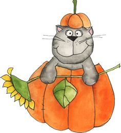 """Photo from album """"Welcome Autumn"""" on Yandex. Halloween Projects, Halloween Cards, Cat Clipart, Tigger, Painted Rocks, Animals And Pets, Bowser, Graphic Art, Disney Characters"""