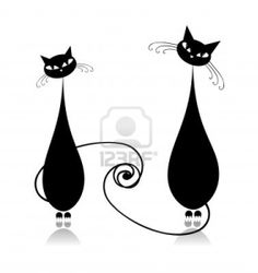 Couple cats together, black silhouette for your design Stock Photo