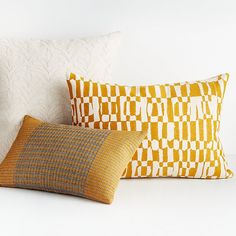 Sale ends soon. Shop Tasi Pillow Two patterns in mustard on grey balance each other beautifully on a pure cotton pillow. Woven with the look of intricate embroidery, the diagonals on each end complement the central oval motif. Pillow Room, Lumbar Pillow, Crate And Barrel, Pillow Inserts, Pillow Covers, Yellow Pillows, Pillow Texture, Pillow Arrangement, Thick Yarn