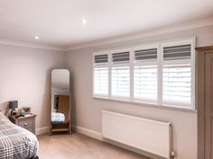 Block out the early morning light with our popular range of Blackout Shutters! Free Installation on Wooden Shutters throughout March! Call us on 0208 662 0126 to book a free home consultation Bedroom Shutters, Wooden Shutters, Curtains, Morning Light, Dream Bedroom, Early Morning, Quotation, Blinds, March