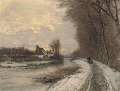 Walking along a water-way in winter