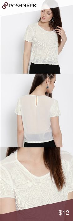 White Beaded Sheer Top Product Details Blue embellished woven sheer top with embroidered detail, has a round neck, short sleeves, keyhole detail with button-and-loop closure on the back Material & Care 100% polyester  Hand-wash Forever 21 Tops Blouses
