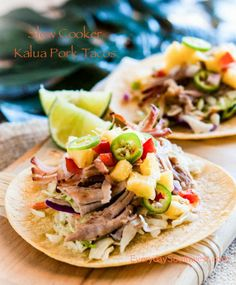Again this year we're featuring Slow Cooker Summer Dinners all during the hot weather, and these Slow Cooker Kalua Pork Tacos from Everyday Southwest are a perfect summer CrockPot meal that won't heat up the house.  [via Slow Cooker from Scratch] #CrockPot #SlowCooker #SlowCookerSummerDinners