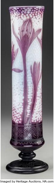 Art Glass:Daum, DAUM OVERLAY OPALESCENT GLASS CROCUS VASE WITH MARTELÉ, Nancy,France, circa 1906. Marks: DAUM, NANCY, (with the cross o...