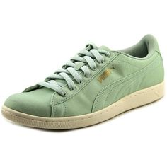 Puma Puma Vikky Cv Round Toe Canvas Sneakers (414912301) ($32) ❤ liked on Polyvore featuring shoes, sneakers, green, green sneakers, round cap, puma footwear, round toe shoes and plimsoll sneakers