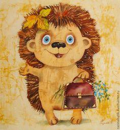Купить Первоклашка( батик панно) - бежевый, 1 сентября, школа, первый класс, первоклассник, звери