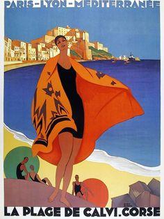 Paris - Lyon - Mediterranee - La Plage de Calvi - Corse (1920-1930) Roger Broders for Paris Lyon Mediteranee rail