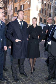 Prince Emmanuel Filiberto of Savoy with wife Princess Clotilde (actress)..gorgeous trench