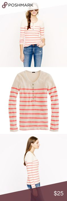 "J Crew Waffle Thermal Striped Button Henley Perfectly placed engineered stripes and golden buttons give a polished look to this incredibly soft waffled henley—it's possibly our top pick for wardrobe MVP this season. In excellent condition. 17"" underarm to underarm and 24.5"" L Fitted. Cotton. Machine wash. J. Crew Tops Tees - Long Sleeve"