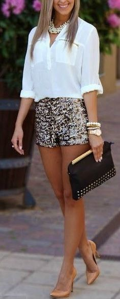 Metallic Shorts, sophisticated and sexy....but the entire look here