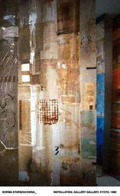 norma-starszakowna-the experimental use of heat-reactives, patination and various print media. The imagery reflects concepts of individual and cultural identity within the urban environment, while the recent introduction of a digitally printed organza substrate with subsequent screen-prints and application of glazes and patinations