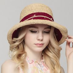 Raffia crimping straw hat for women summer package sun hats with bow   Supernatural Style