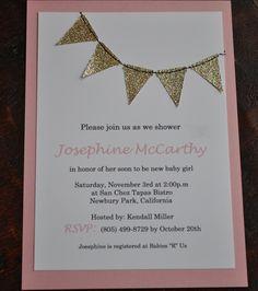 Gold Glitter Bunting flags pennant garland handmade sewn invitation - custom. $30.00, via Etsy.