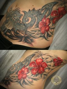 celtic flower tattoo | celtic dragon flowers tat by 2Face-Tattoo