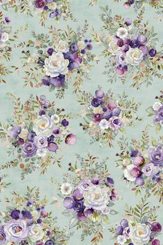 Lilac and Sage~Floral Bouquets/Green~Cotton Fabric by RJR Fabrics Decoupage Vintage, Decoupage Paper, Aboriginal Patterns, Flower Phone Wallpaper, Flower Backgrounds, Floral Bouquets, Cute Wallpapers, Floral Wallpapers, Vintage Flowers