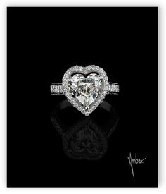 Bez Ambar Open Pave Frame Heart Ring with Quadrillion Mounting.