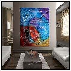 LARGE ARTWORK Original PAINTING red Blue abstract by largeartwork, $295.00