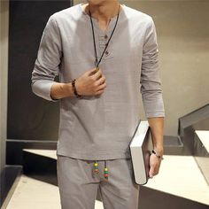 Mens Spring Autumn Linen V Shape Crew Neck Side Slit Hem Solid Color Long Sleeved Shirts at Banggood Camisa Medieval, Sexy Shirts, Casual Shirts, Cotton Harem Pants, Summer Shirts, Chic Outfits, Mens Fashion, Latest Fashion, Fashion Trends